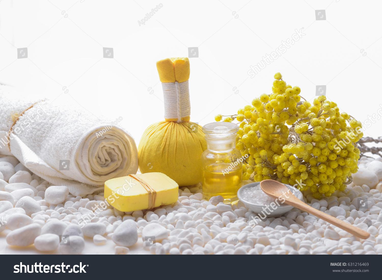 Yellow Flower Spa Ball Salt Bowl Stock Photo Edit Now 631216469