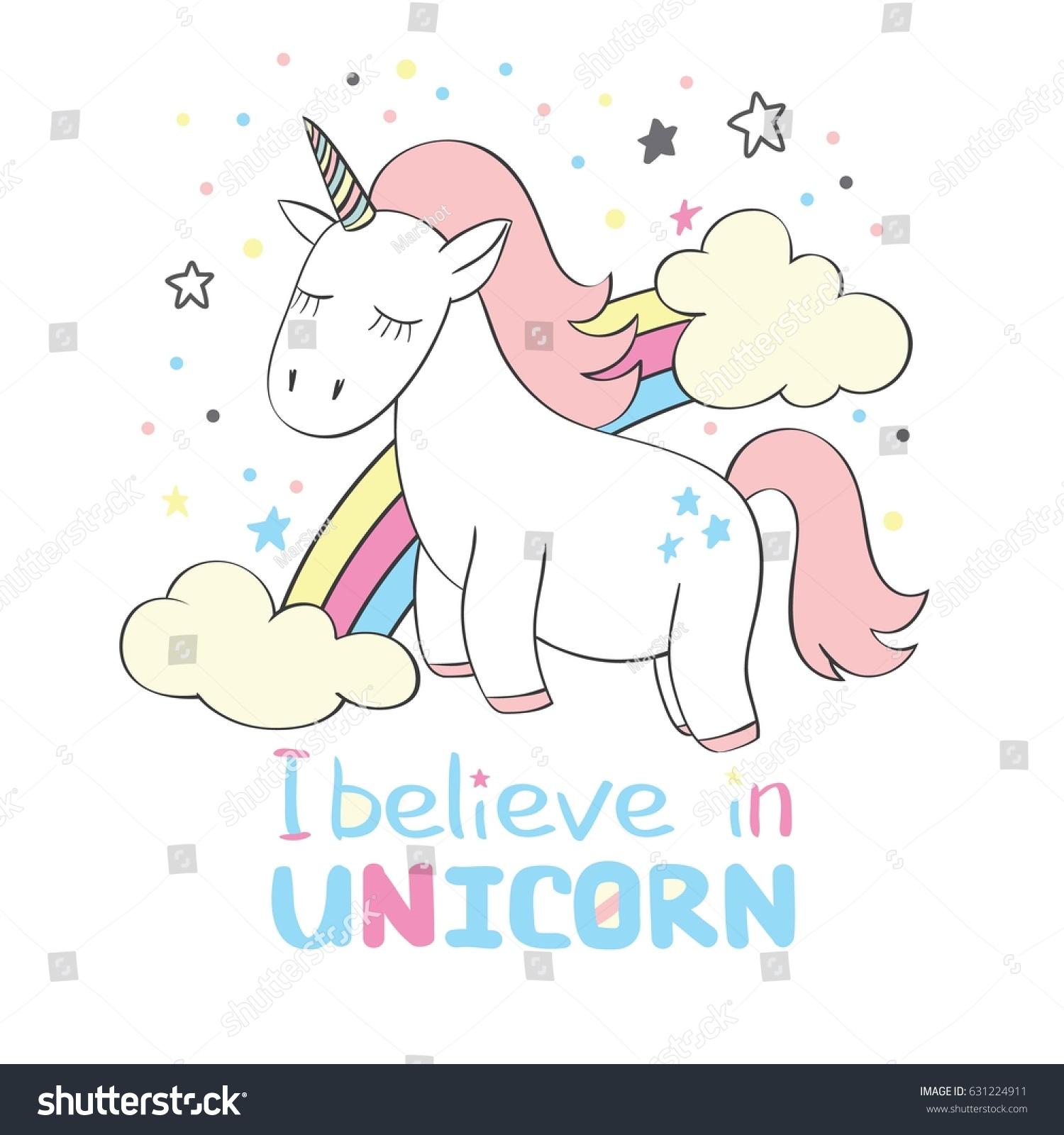 magic cute unicorn cartoon style rainbow stock vector 631224911