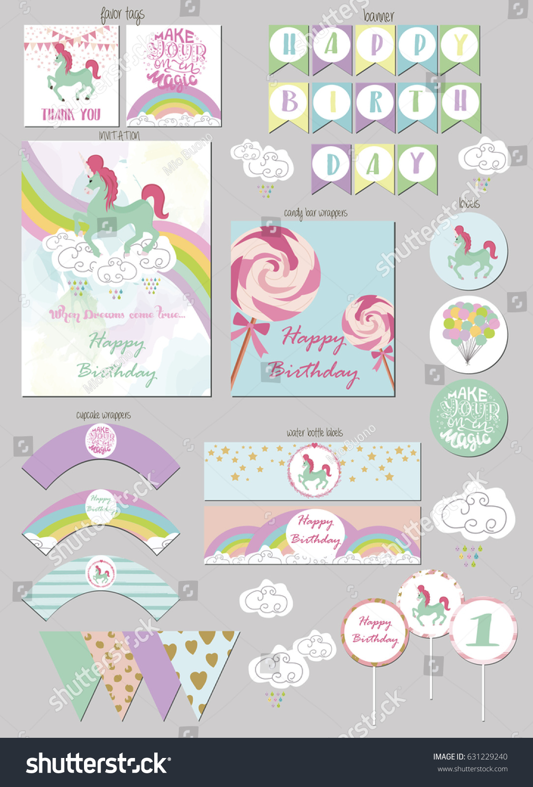 Party Package Magic Birthday Party Gift Stock Vector (Royalty Free ...