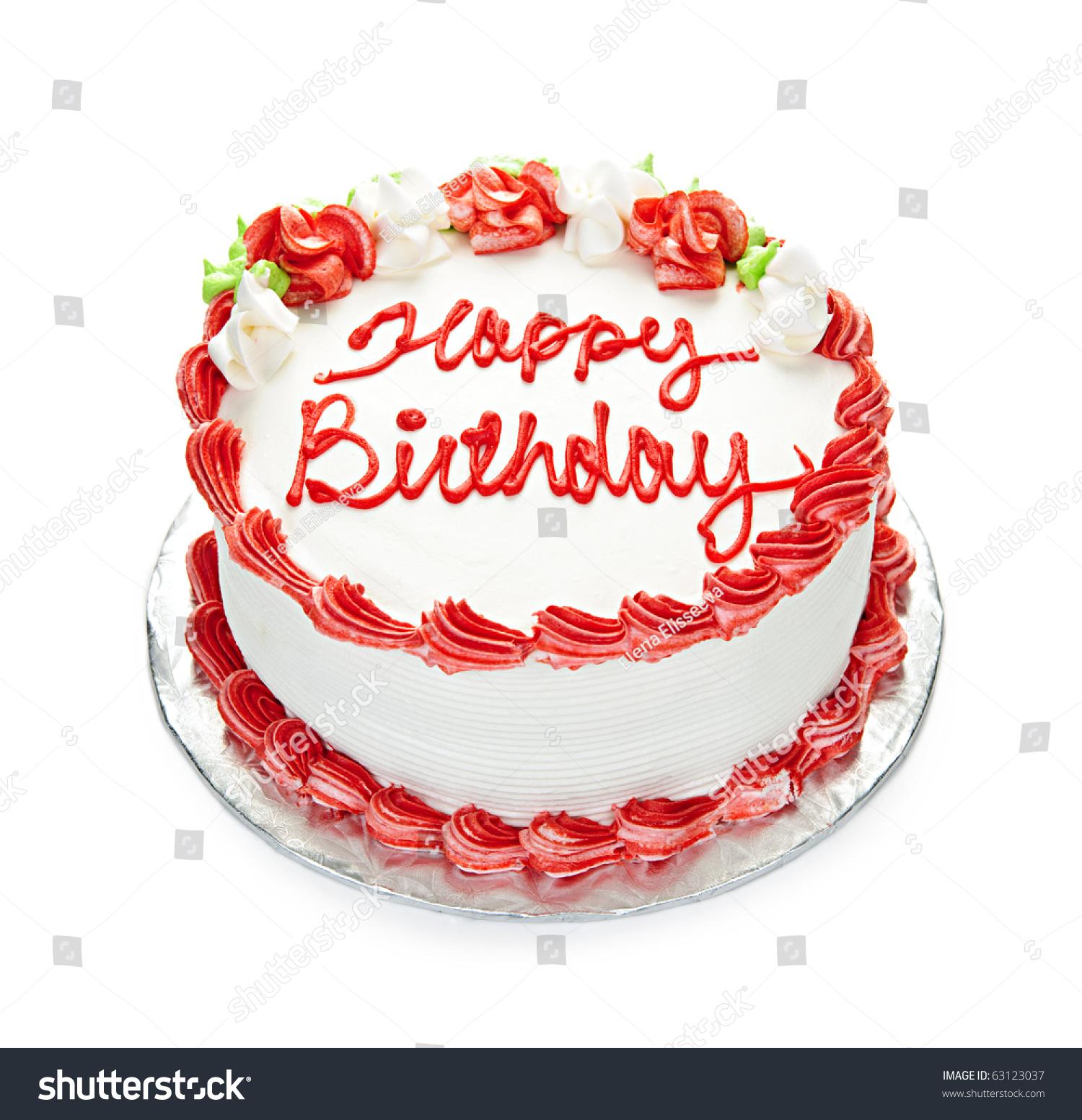 Birthday Cake White Red Icing Isolated Stock Photo