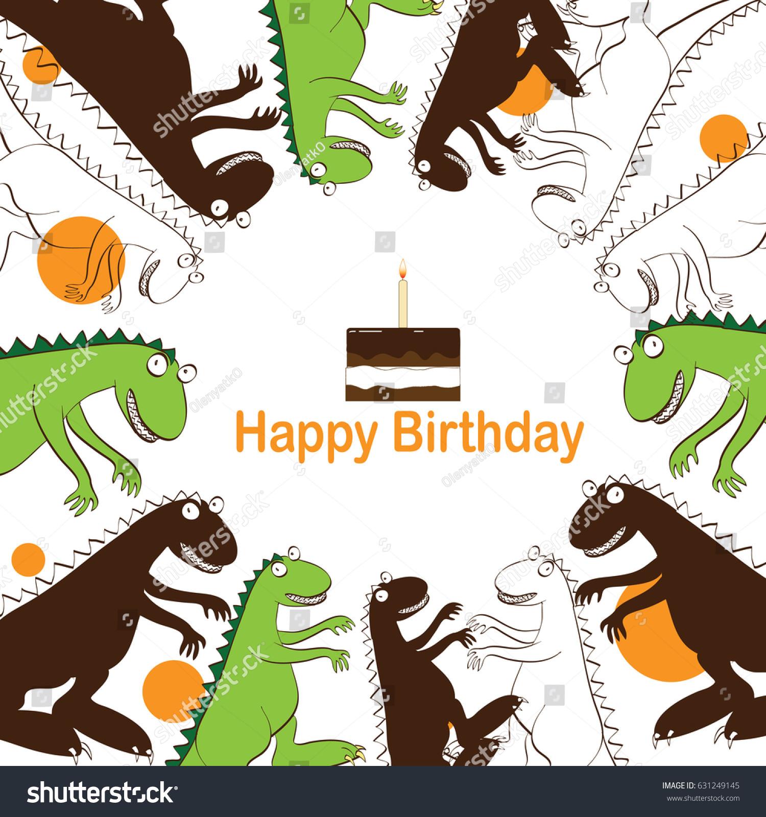 Greeting Card Card Invitations Birthday Dinosaurs Stock Illustration ...