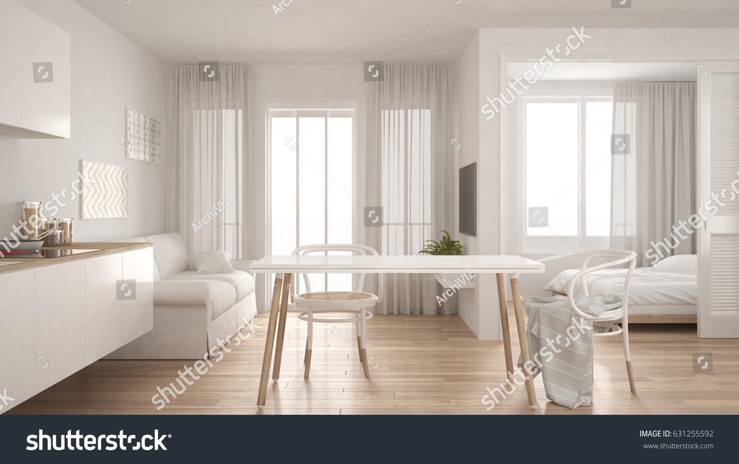 Modern Minimal Kitchen Living Room Bedroom Stock Illustration ...
