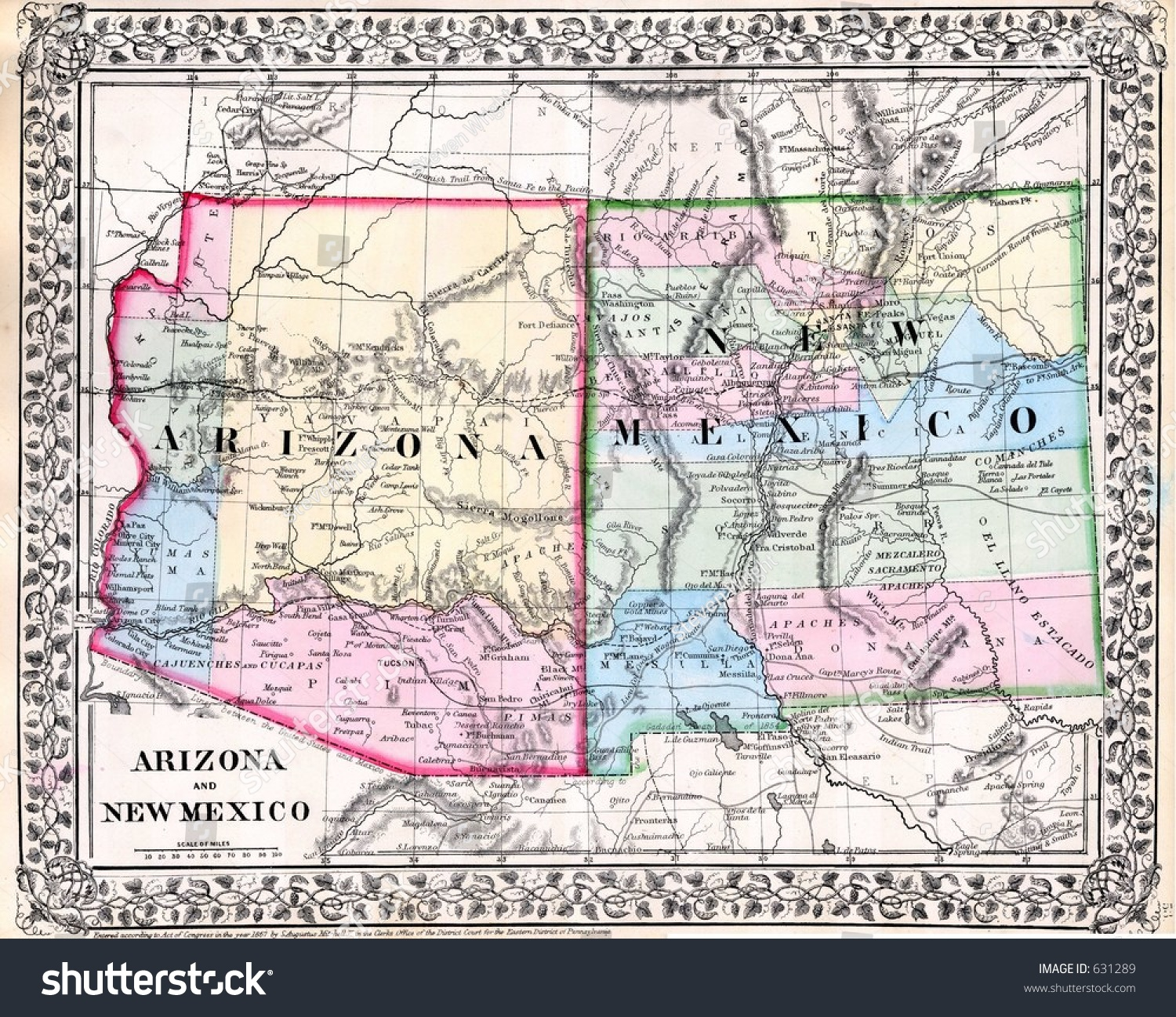 Antique Map New Mexico Arizona Stock Illustration - Map of arizona and new mexico