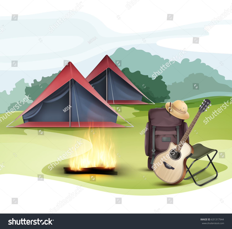 Vector Camping Zone Tent Big Travel Stock Vector