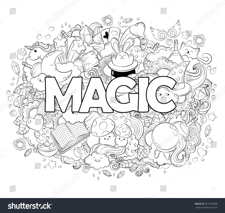 Halloween Concept Hand Drawn Cartoon Doodle Stock Vector