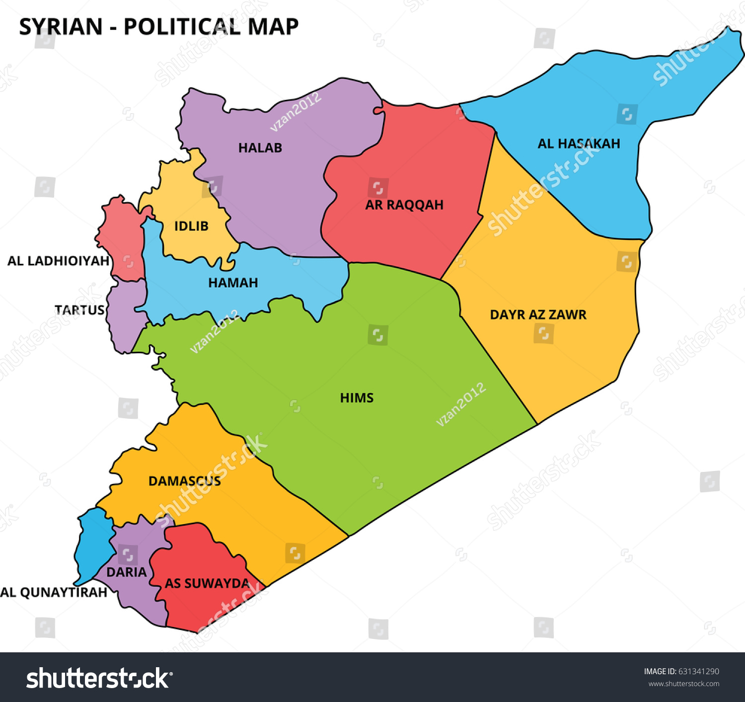 syria country illustration map with flat colors