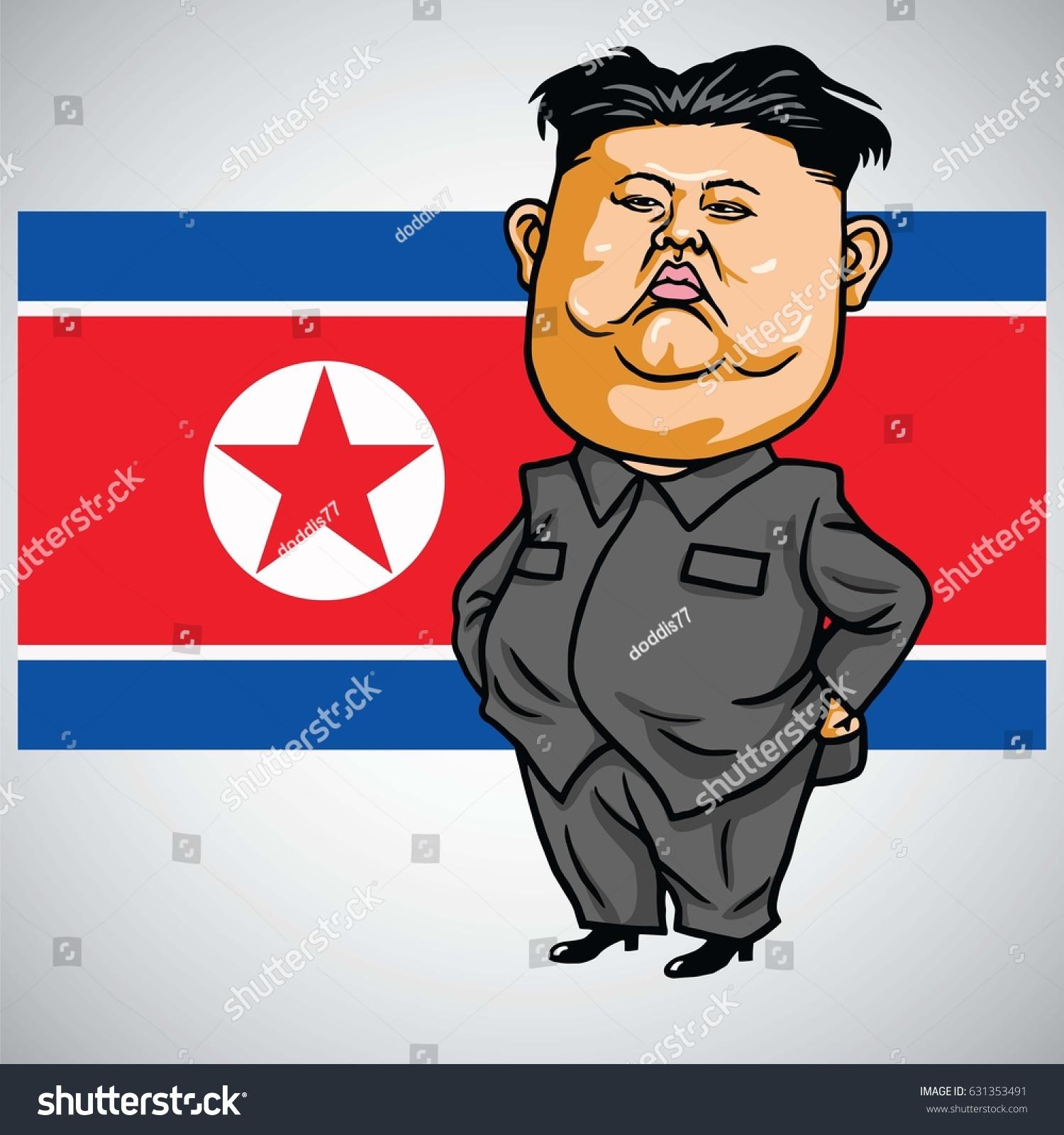 Kim Jongun Cartoon North Korea Flag Stock Vector Royalty Free 631353491