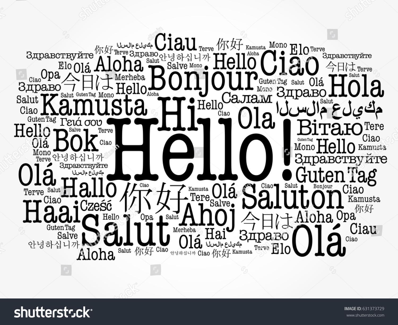 Hello Word Cloud Different Languages World Vector de stock (libre de ...
