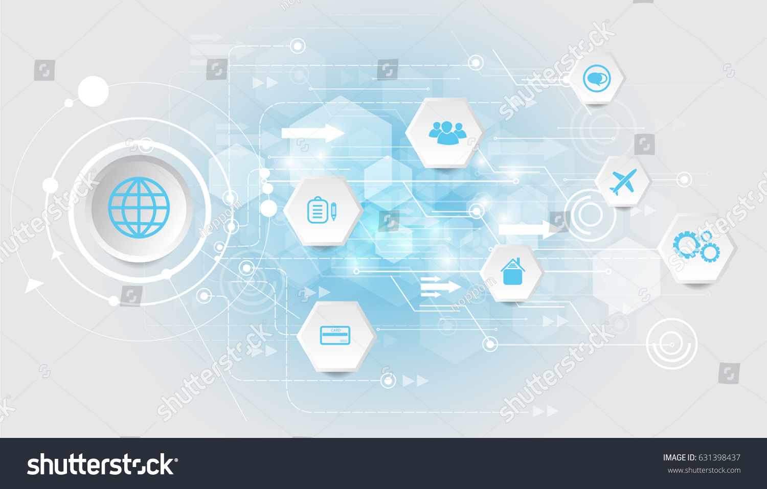 Abstract Technology Circuit Diagram Vector Background Stock With Business Icons