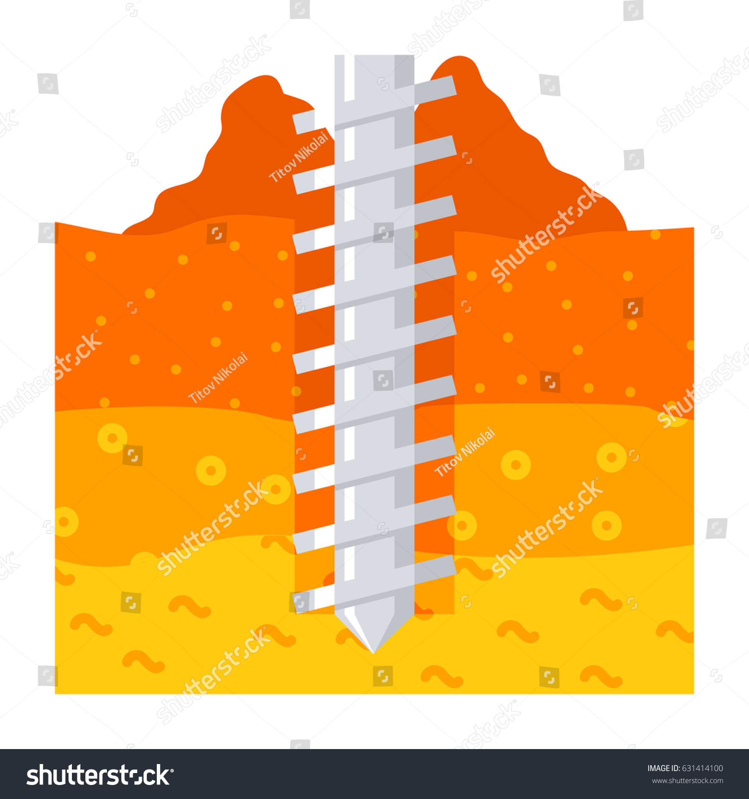Geomechanics Concept Earth Auger Drill Soil Stock Vector (Royalty