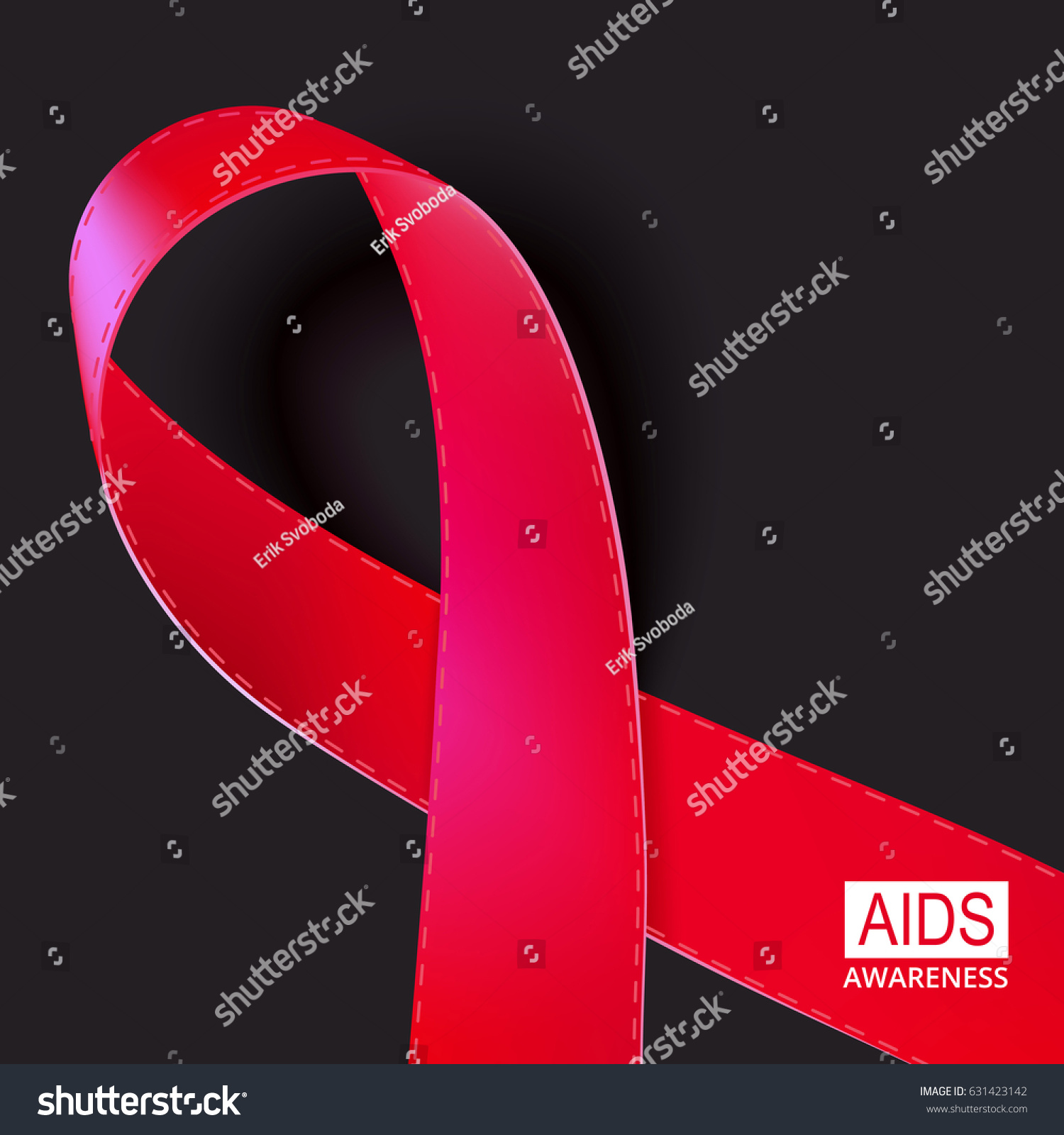 Realistic Red Ribbon Vector Illustration On Stock Vector Royalty