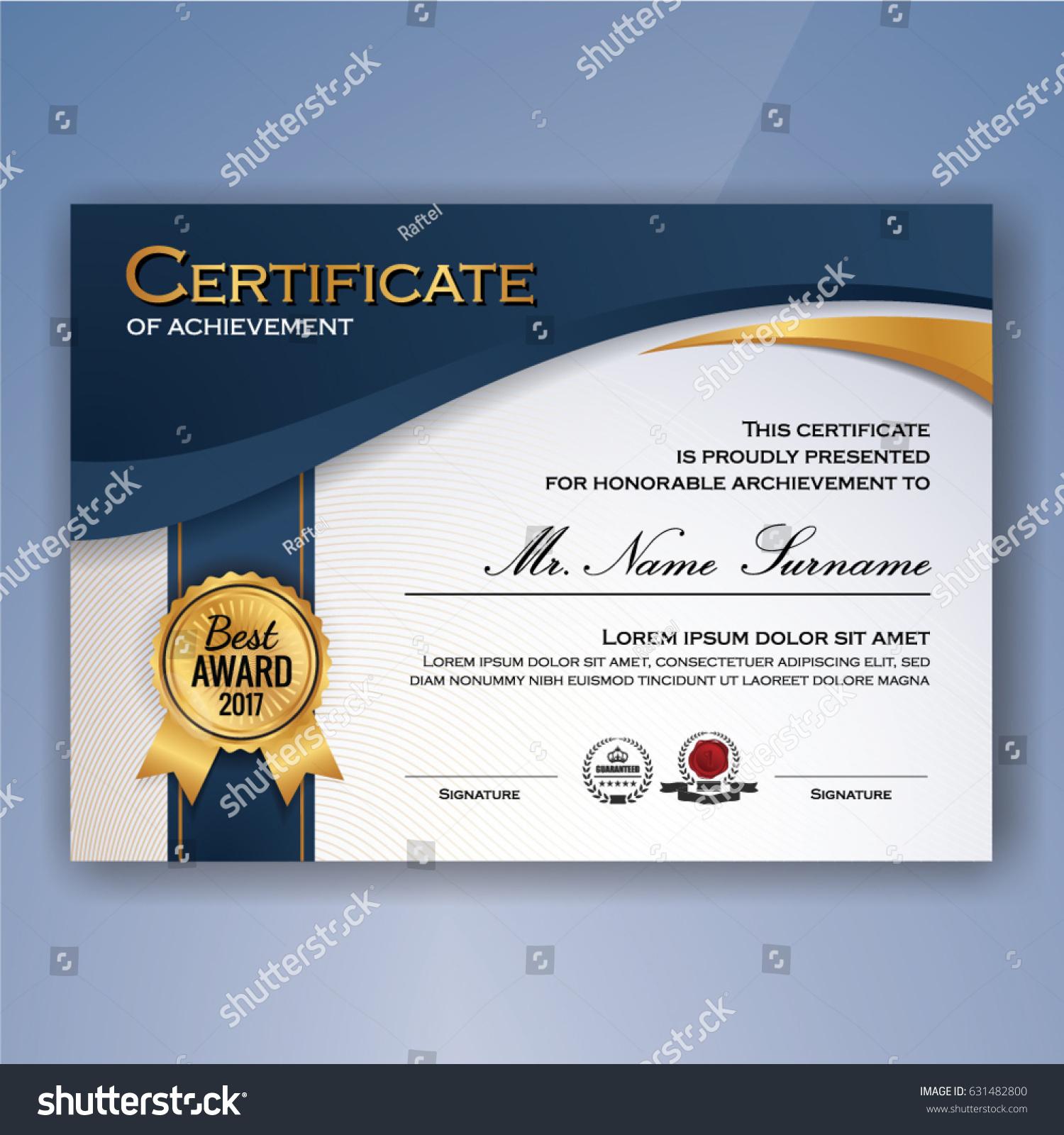 Blue White Elegant Certificate Achievement Template Stock Vector ...