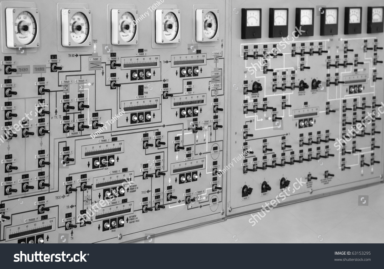 Old Control Panel Levers : Control panel with buttons and levers stock photo
