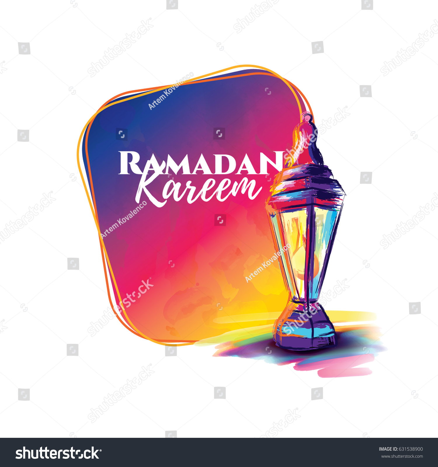 vector illustration of a lantern Fanus. the Muslim feast of the holy month of Ramadan Kareem. Translation from Arabic: Generous Ramadan #631538900