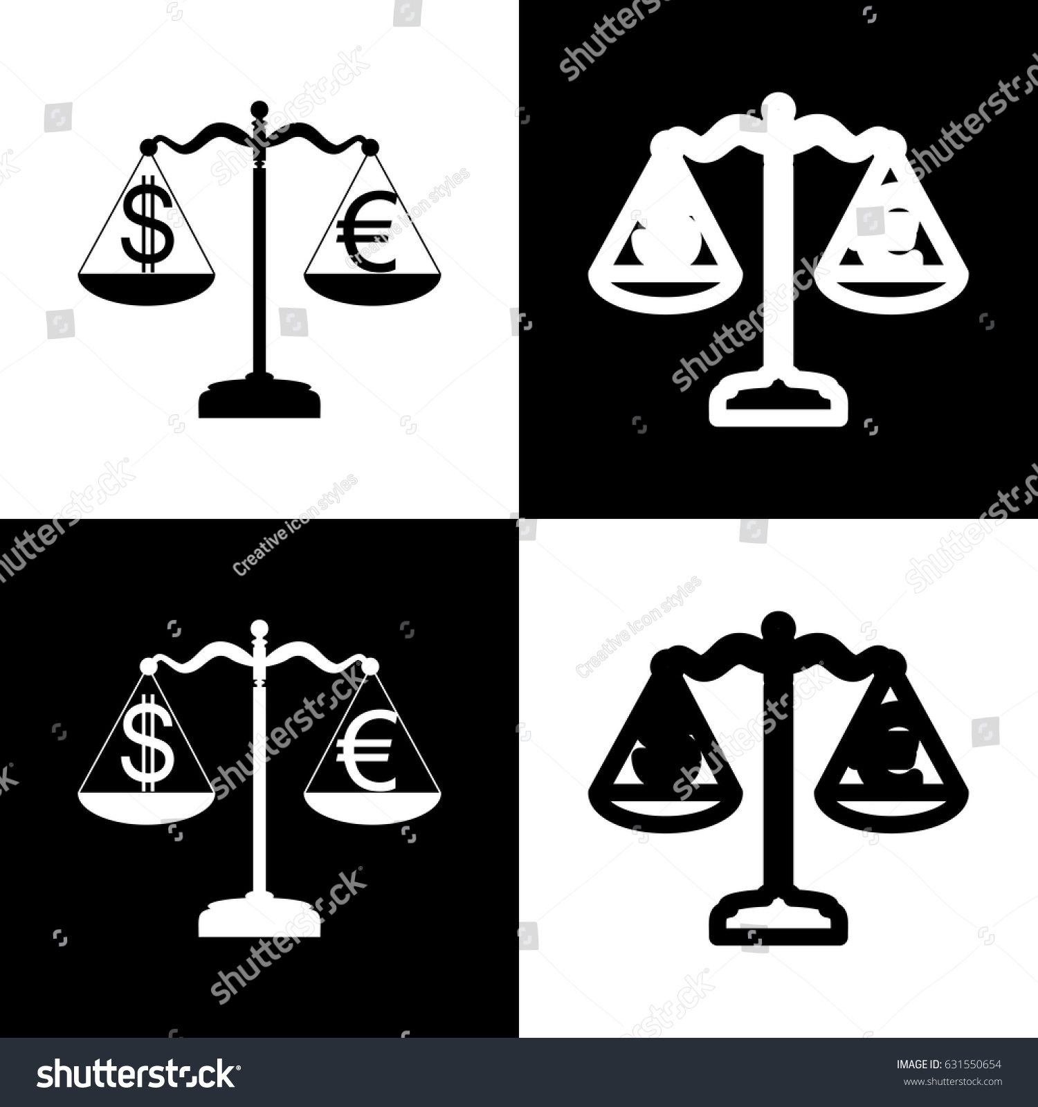 Justice Scales Currency Exchange Sign Vector Vector de ...