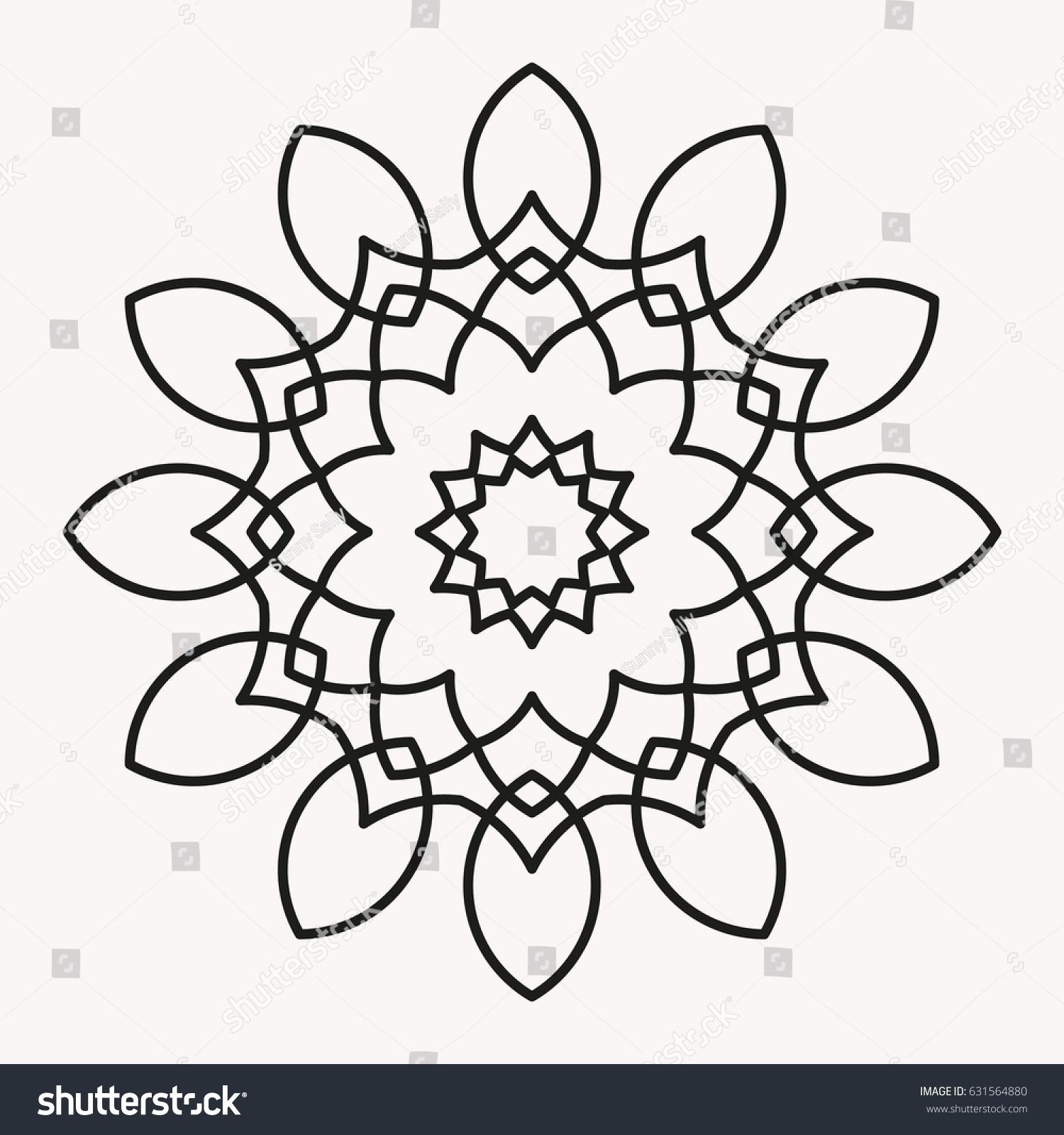 Simple Mandala Shape For Coloring Vector Floral Flower