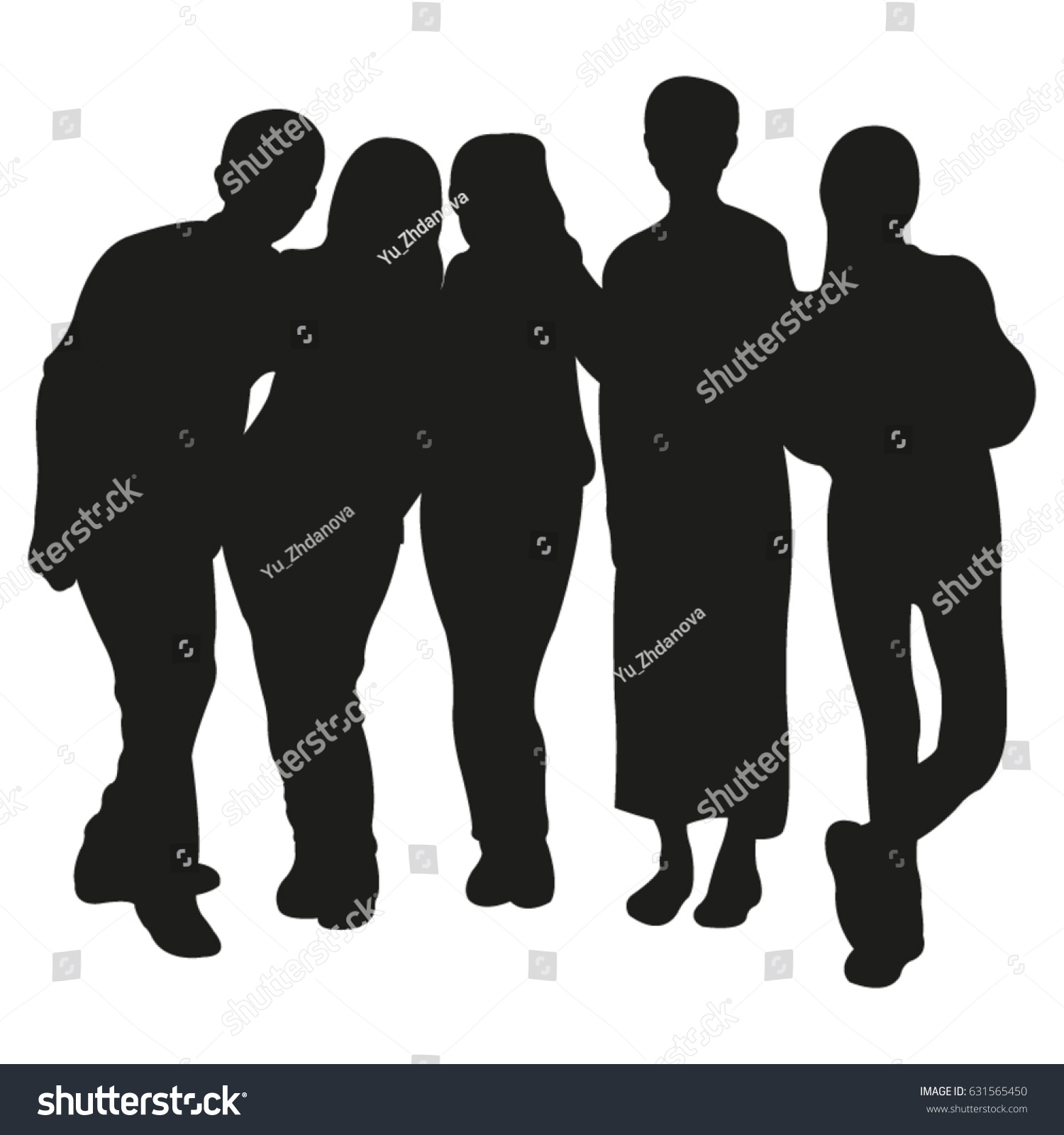 Vector Silhouette Group People Stock Vector 631565450 ...
