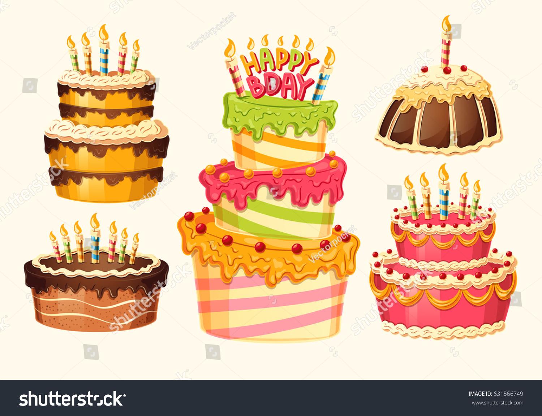 Collection Vector Cartoon Birthday Cakes Candles Stock Vector