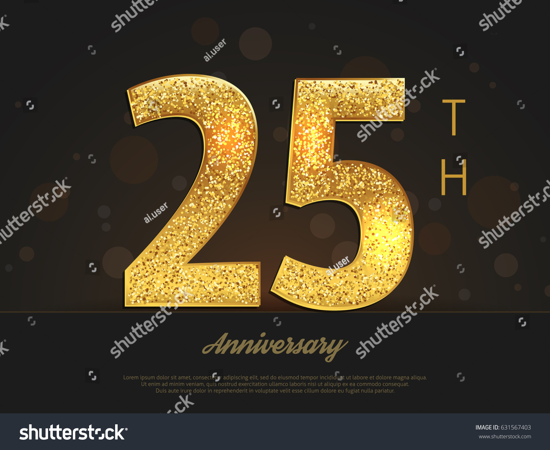 25th Anniversary Decorated Greetinginvitation Card Template