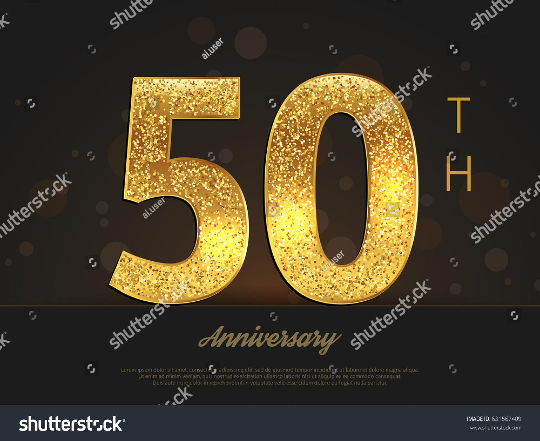 50th Anniversary Decorated Greetinginvitation Card Template