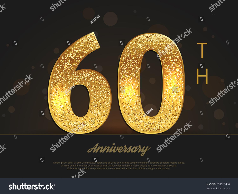 60th Anniversary Decorated Greetinginvitation Card Template