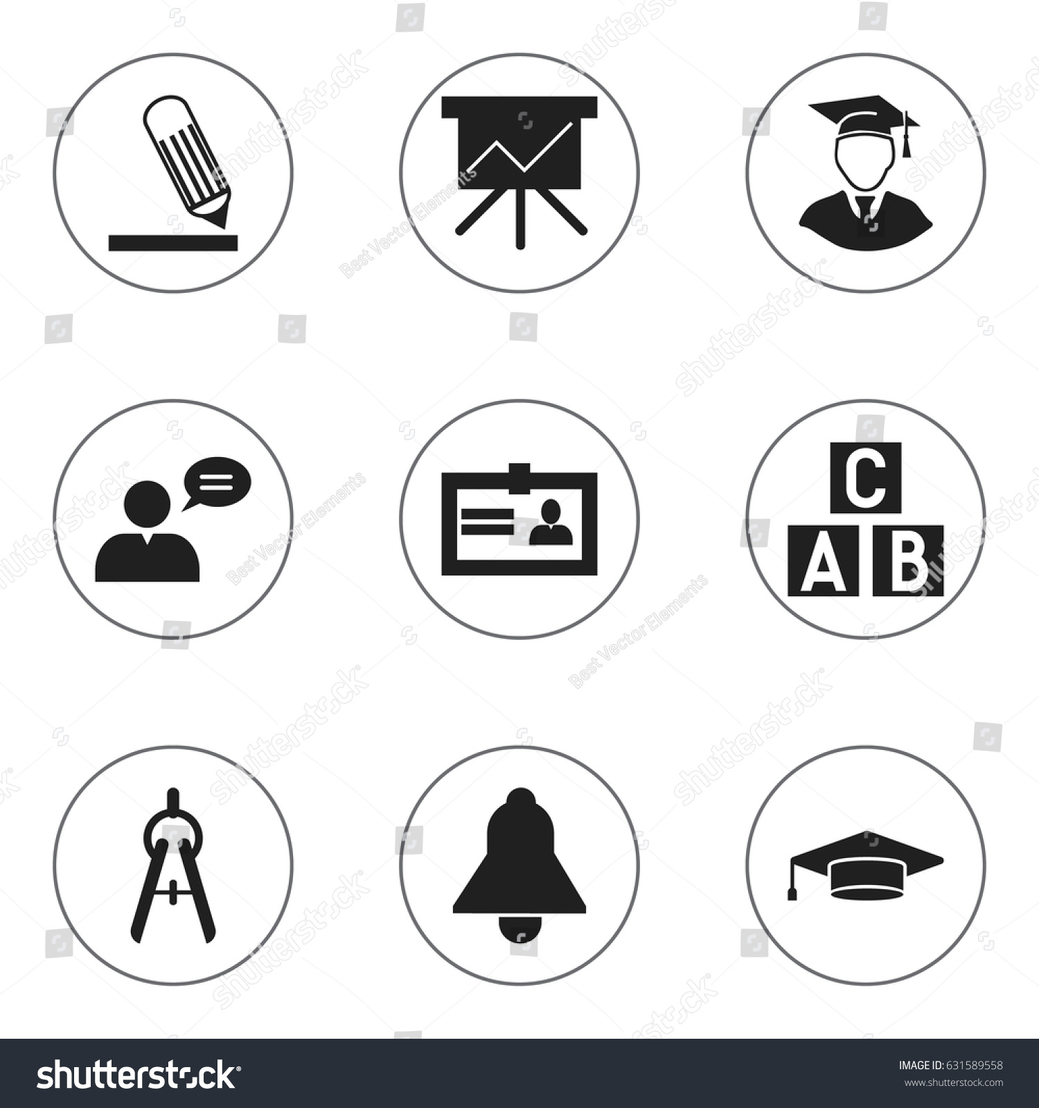 Set 9 editable school icons includes stock vector 631589558 includes symbols such as certification thinking man 1betcityfo Image collections