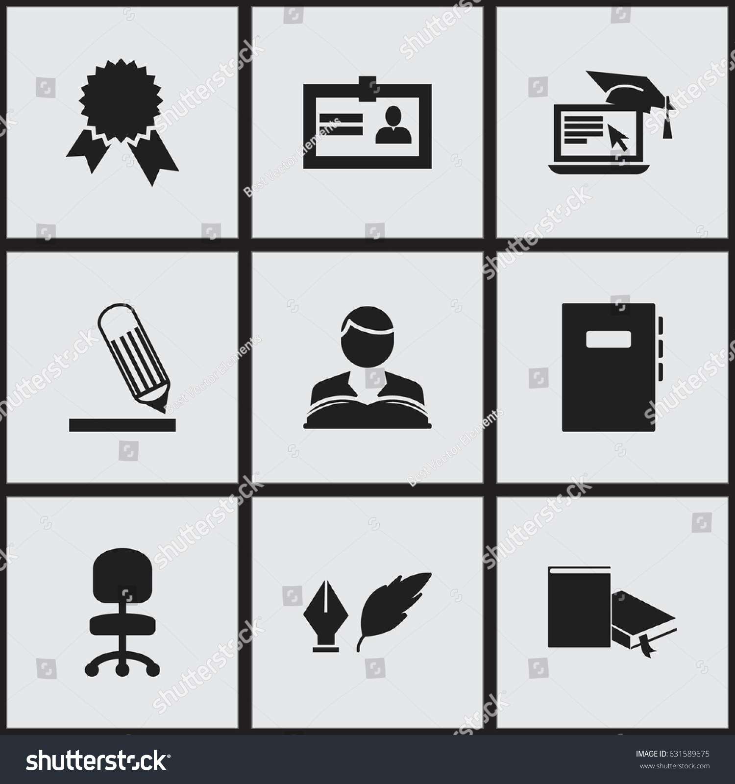 Set 9 editable school icons includes stock vector 631589675 includes symbols such as certification workbook writing 1betcityfo Image collections