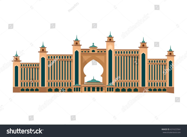 Vector illustration famous hotel dubai atlantis stock for The famous hotel in dubai