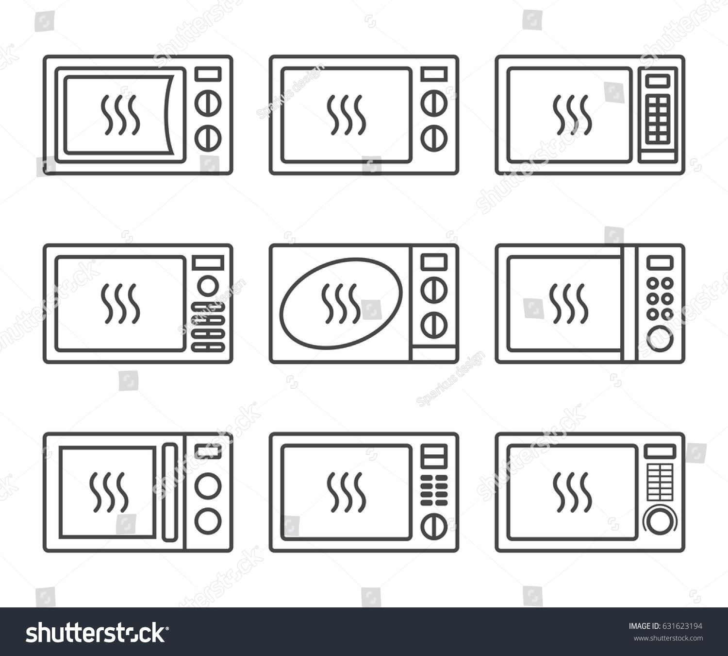 Microwave icon set different electric oven stock vector 631623194 different electric oven icons oven symbol in thin lines vector buycottarizona Image collections