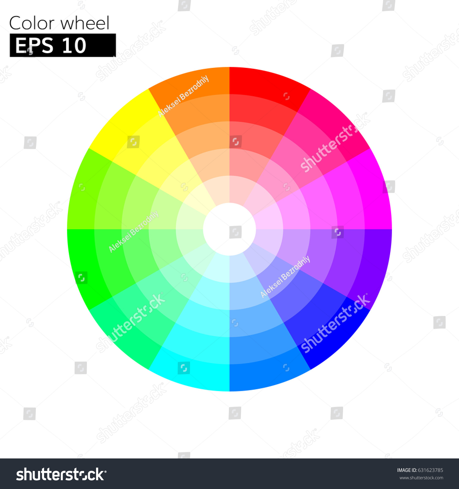 Color Wheel 12 Colors Vector With Circle Harmony Design