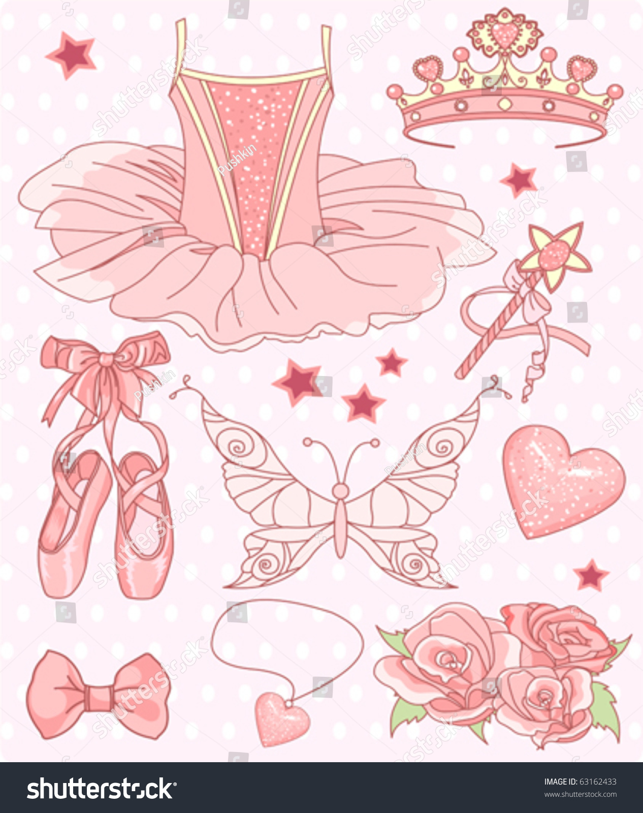 set princess ballerina accessories stock vector royalty free
