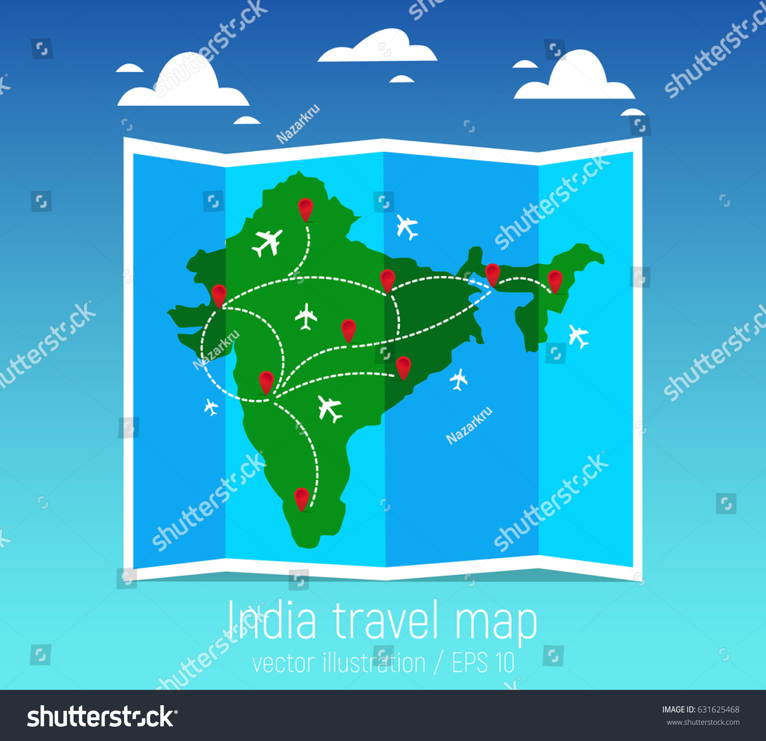 Travel tourism map indian folded world stock vector 2018 631625468 travel and tourism map indian folded world map with airplanes and markers vector illustration gumiabroncs Images