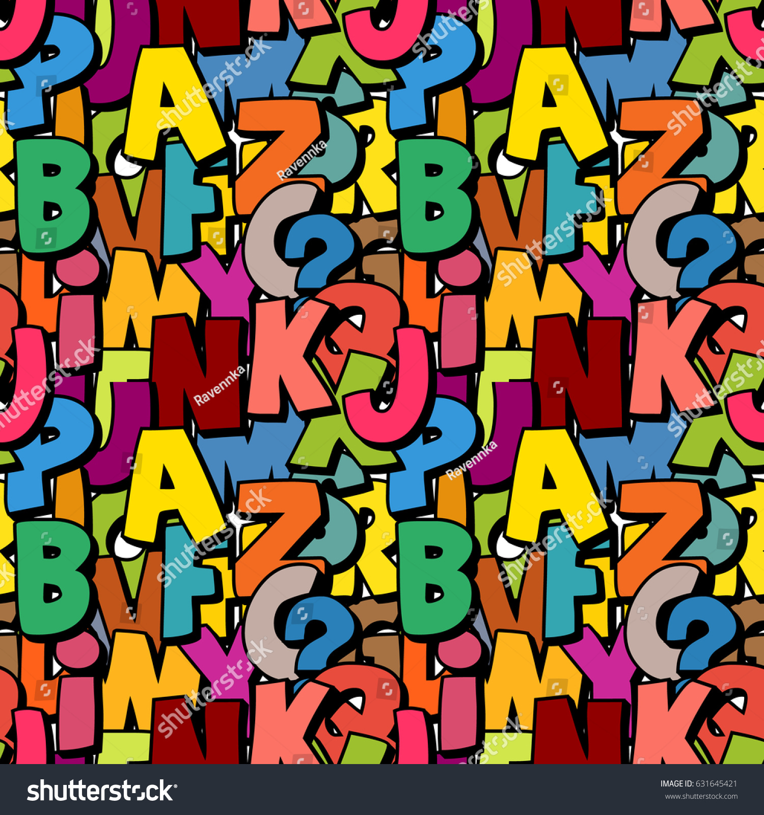 seamless alphabet pattern made colorful overlay stock vector