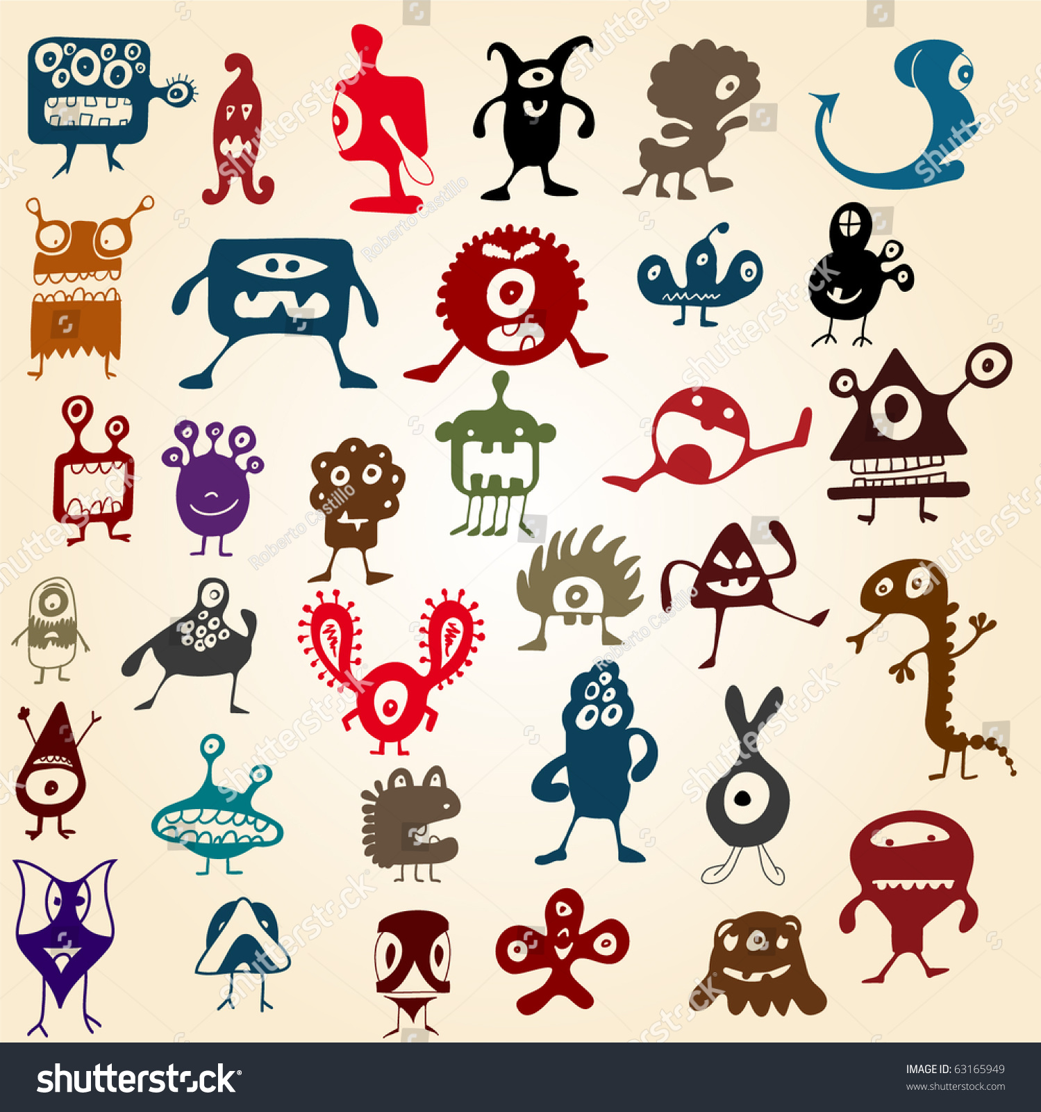 Many Cute Doodle Monsters Stock Vector Illustration 63165949 ...