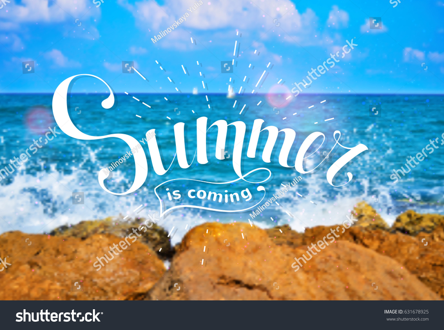 Amazing Summer Is Coming. Hand Drawn Lettering On The Background Of A Sea Landscape.
