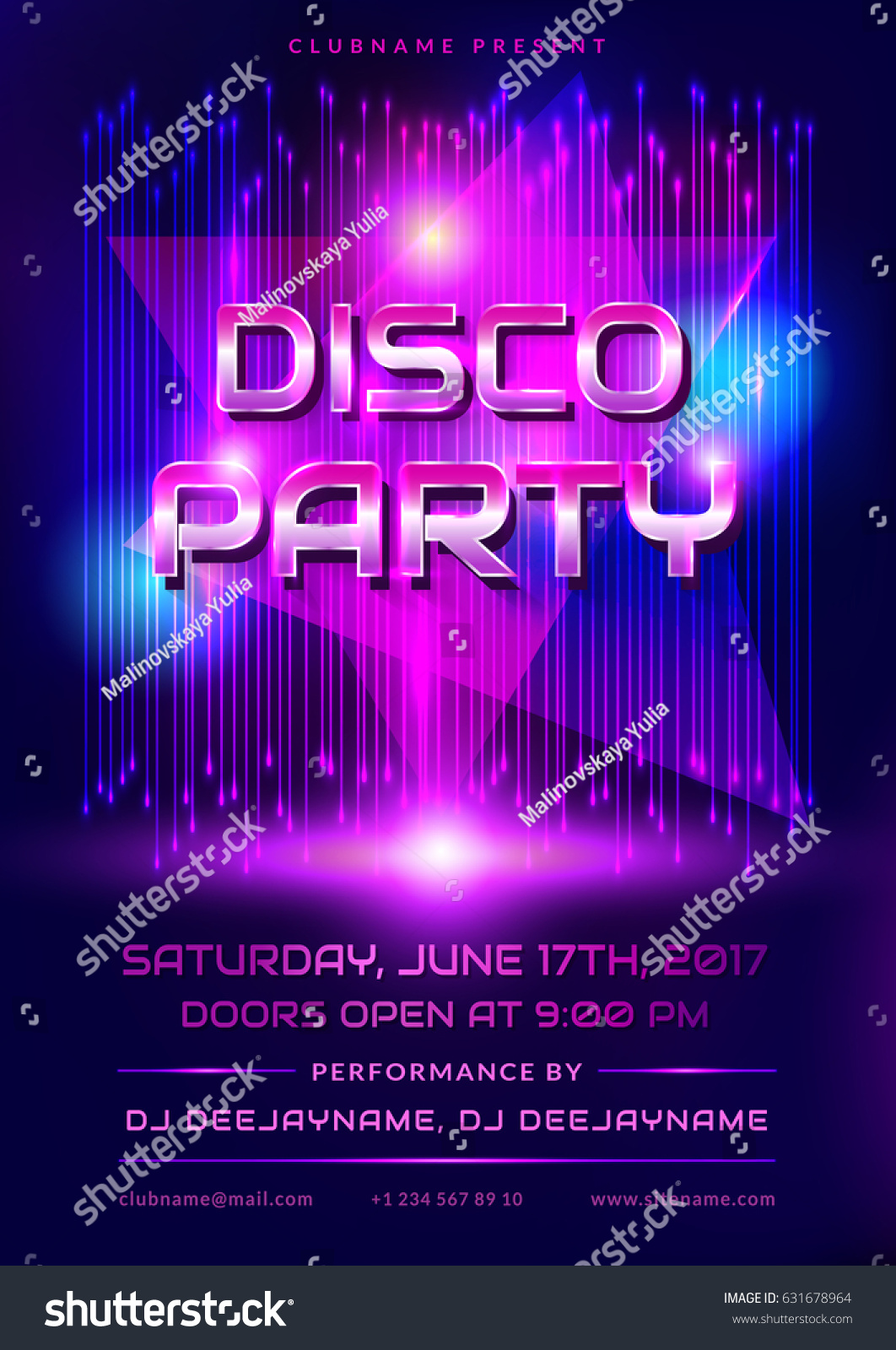 Colorful Flyer Disco Party Invitation Shiny Stock Vector 631678964 ...