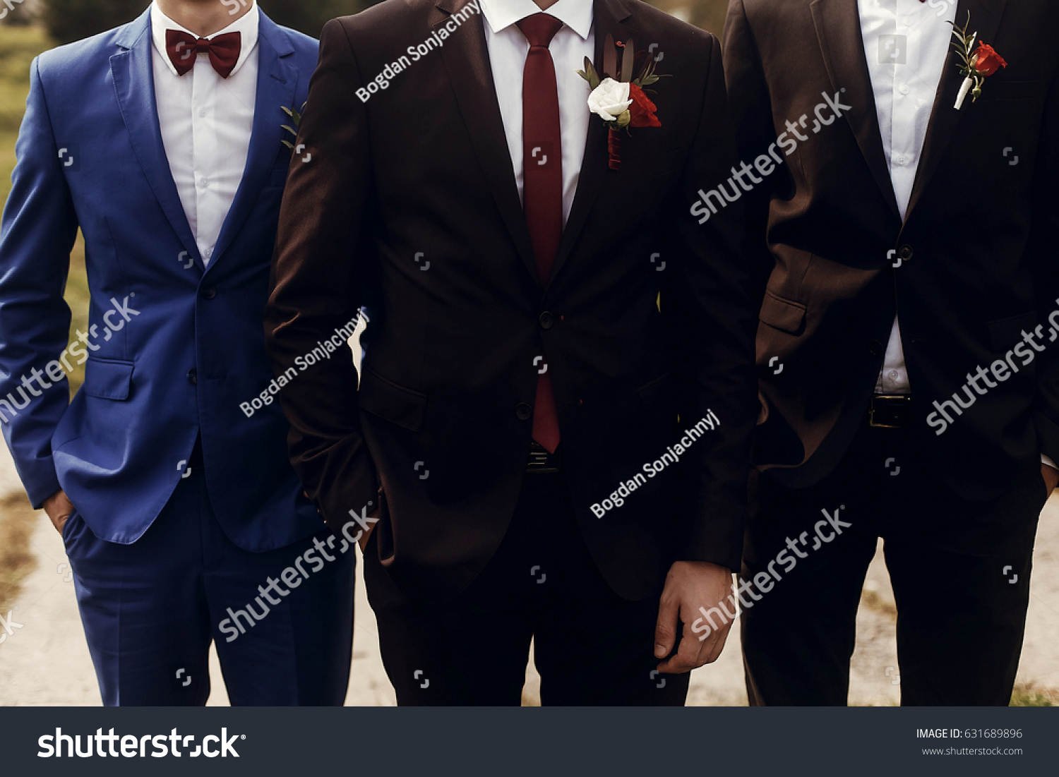 Stylish Groom Groomsmen Suits Boutonniere Posing Stock Photo ...