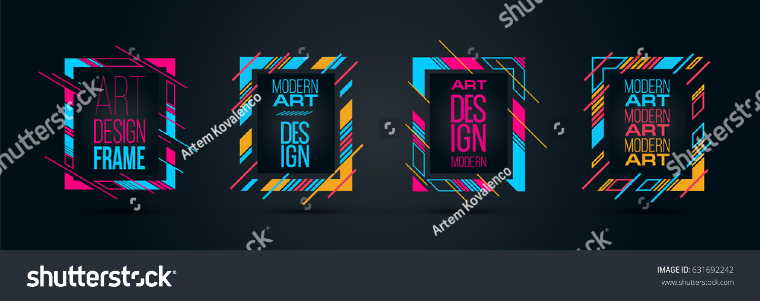 Vector frame Art graphics for hipsters . dynamic frame stylish geometric black background . element for design business cards, invitations, gift cards, flyers brochures. ALSO HAVE VIDEO GRAPHICS #631692242