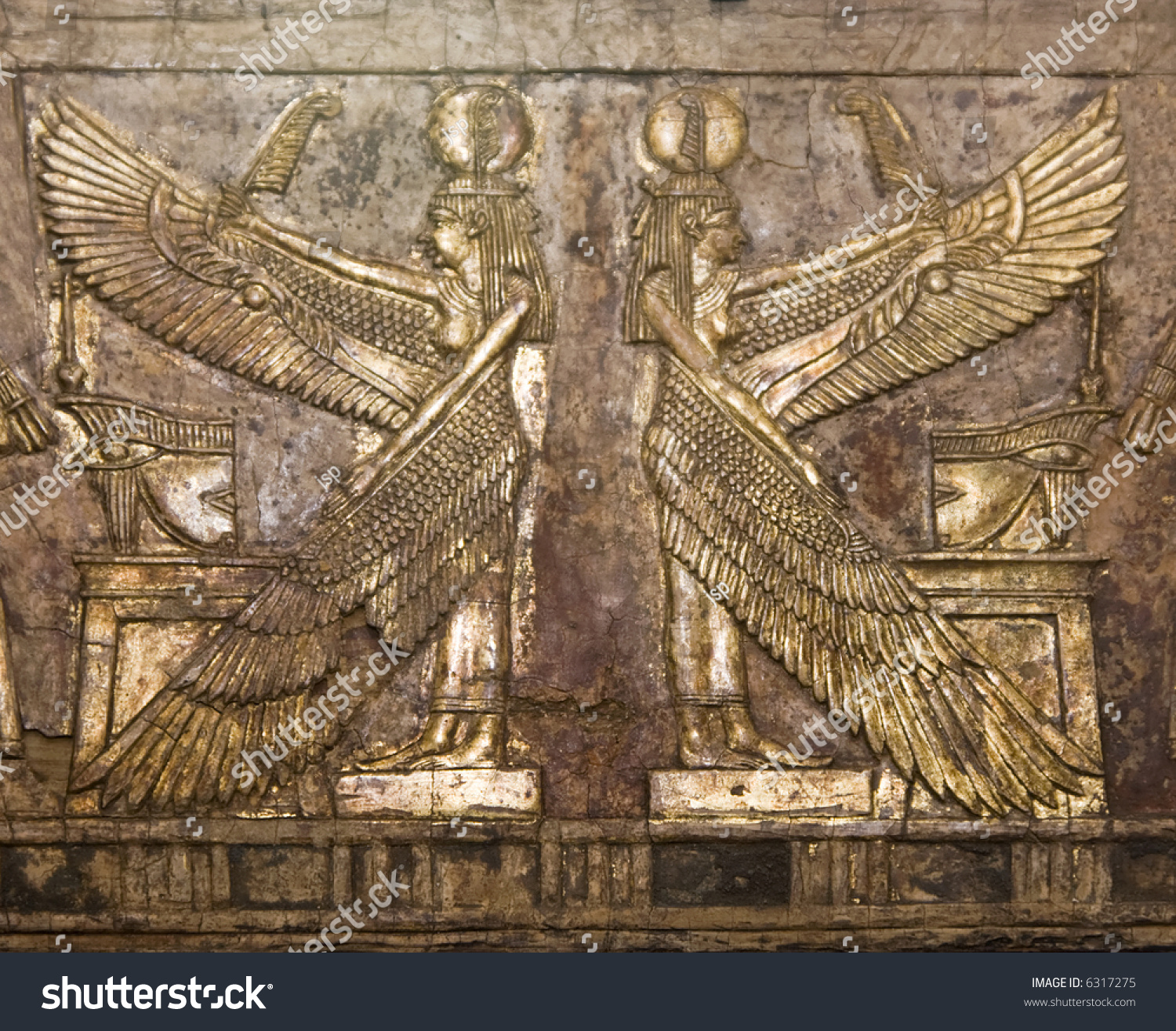 Ancient egyptian wood relief carving two stock photo