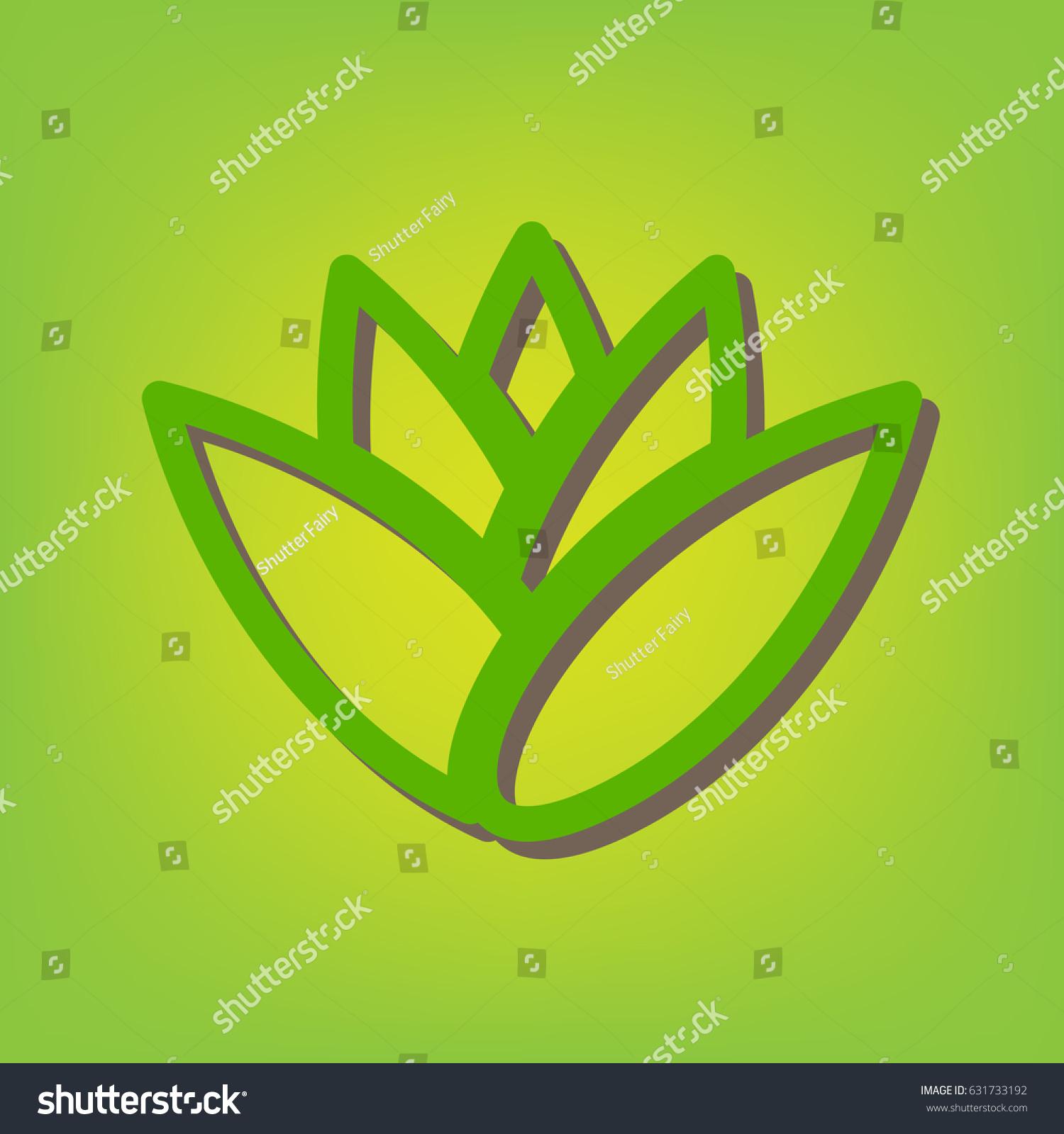 Flower Abstract Logo Sign Vector Green Stock Vector 631733192