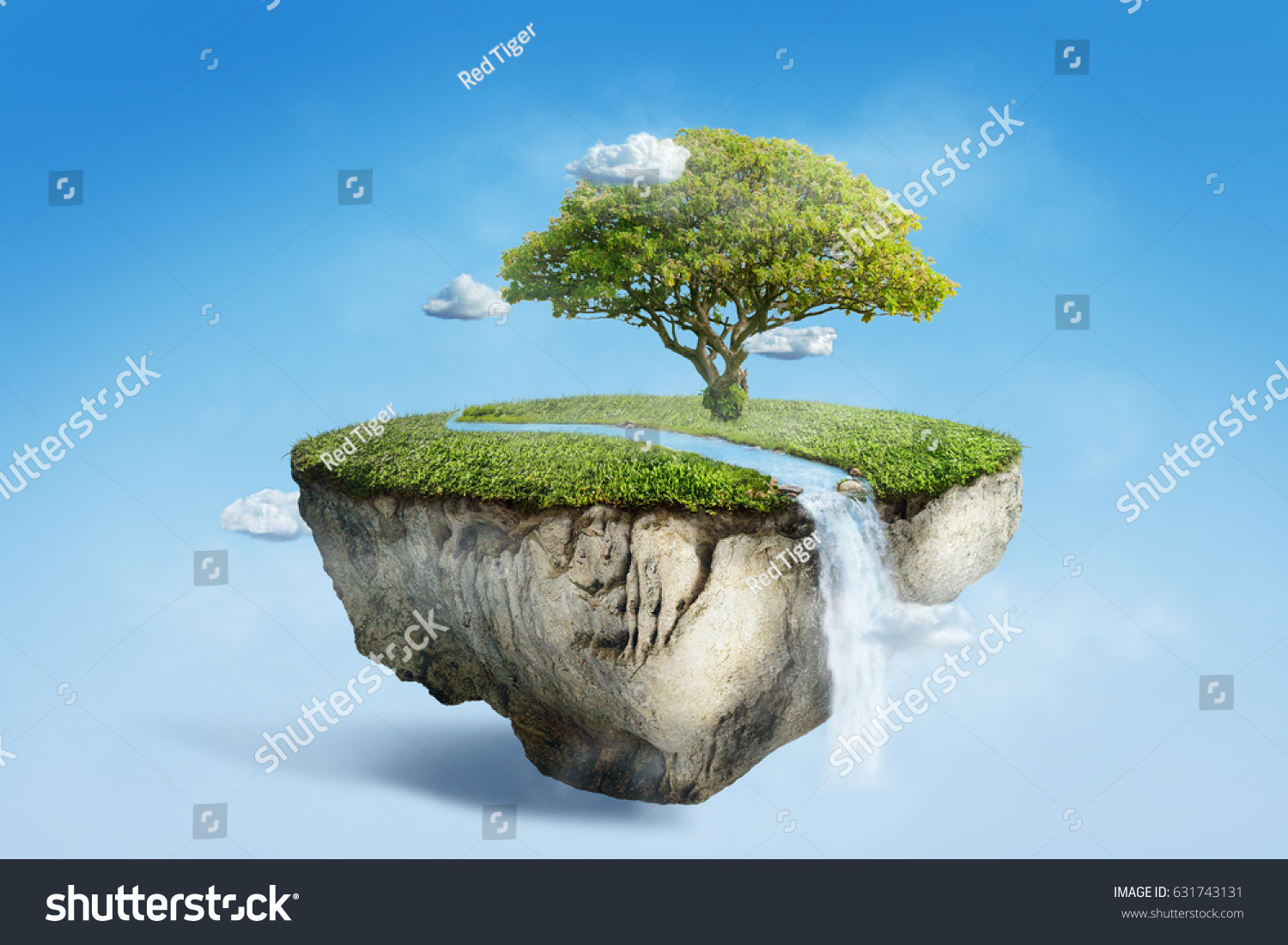 More similar stock images of 3d landscape with fall tree - Fantasy Floating Island With River Stream On Green Grass With Tree Surreal Float Landscape With