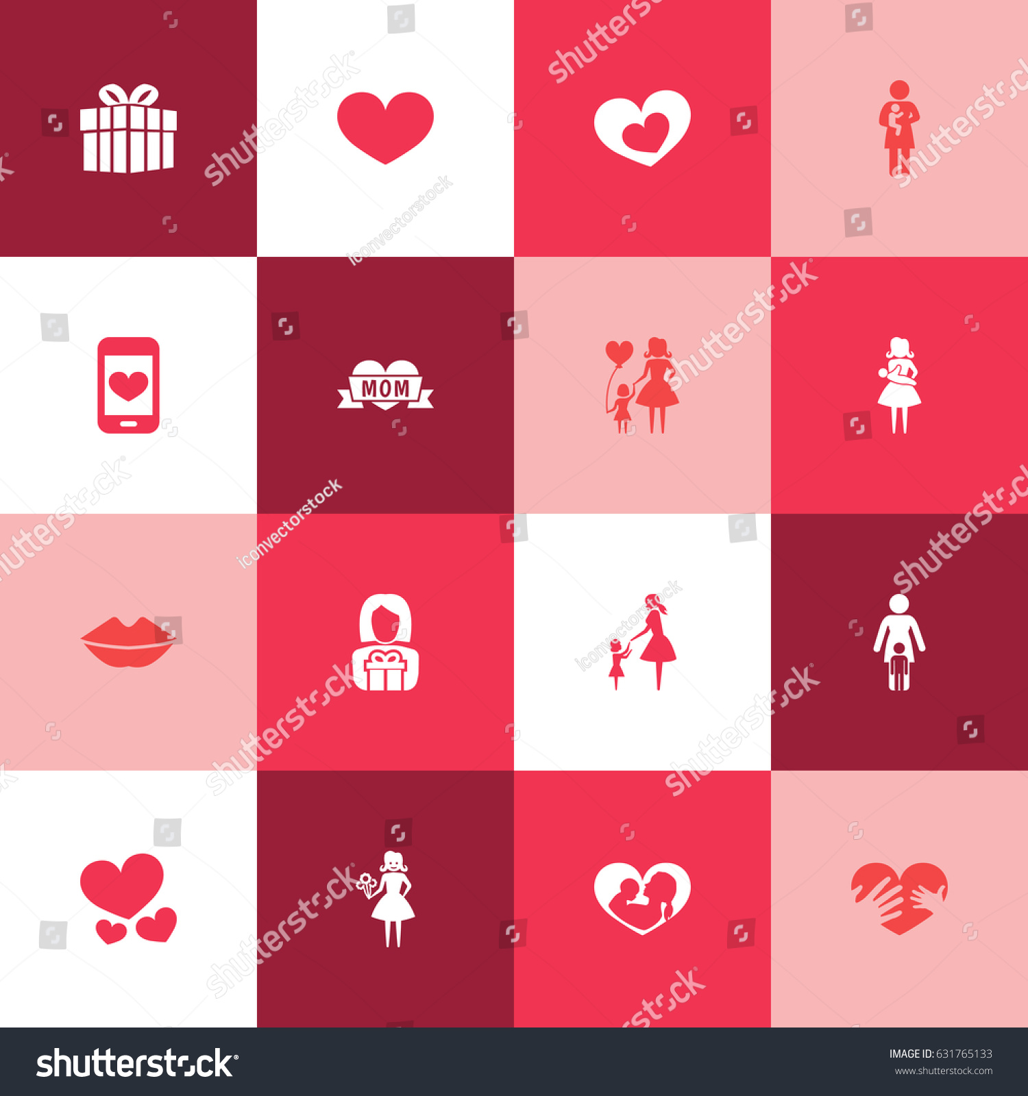 Mothers day icon design concept set stock vector 631765133 set of 16 such elements as shape cellphone and buycottarizona