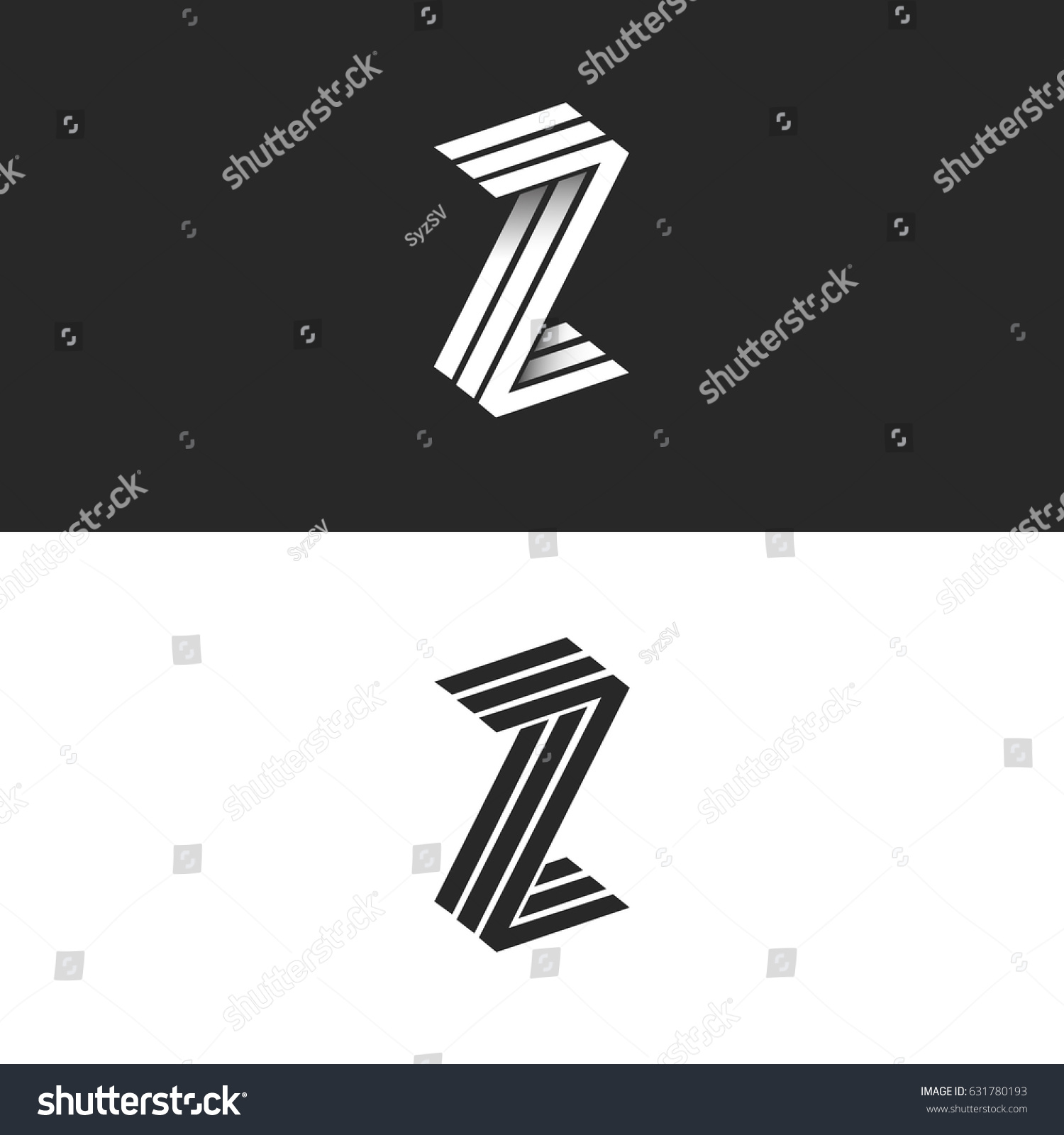 Letter Z Logo Isometric Geometric Shape Stock Vector Royalty Free