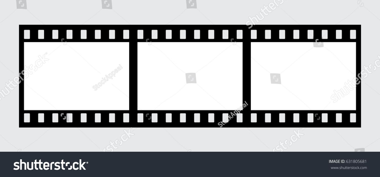 Vector filmstrip. 3 Frames. Horizontal. Black and White. | EZ Canvas