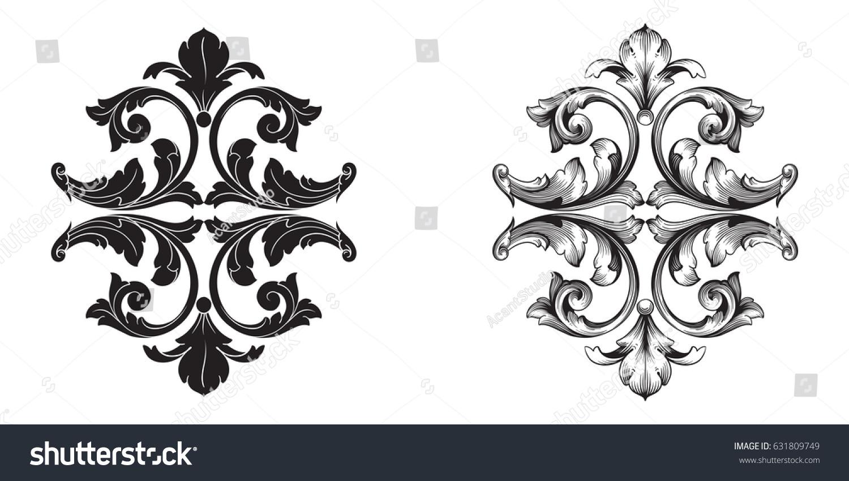 Baroque vector set vintage elements design stock vector for Baroque design elements