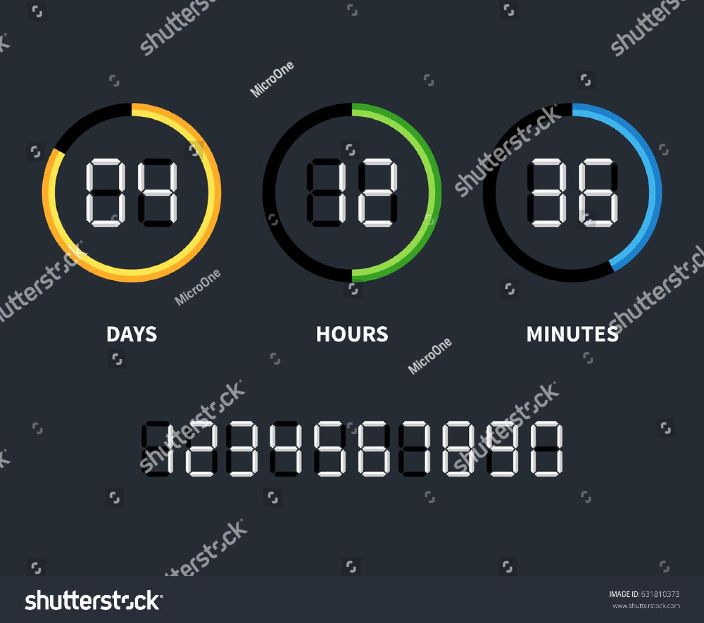 Digital Clock Countdown Timer Vector Time Stock-Vektorgrafik ...
