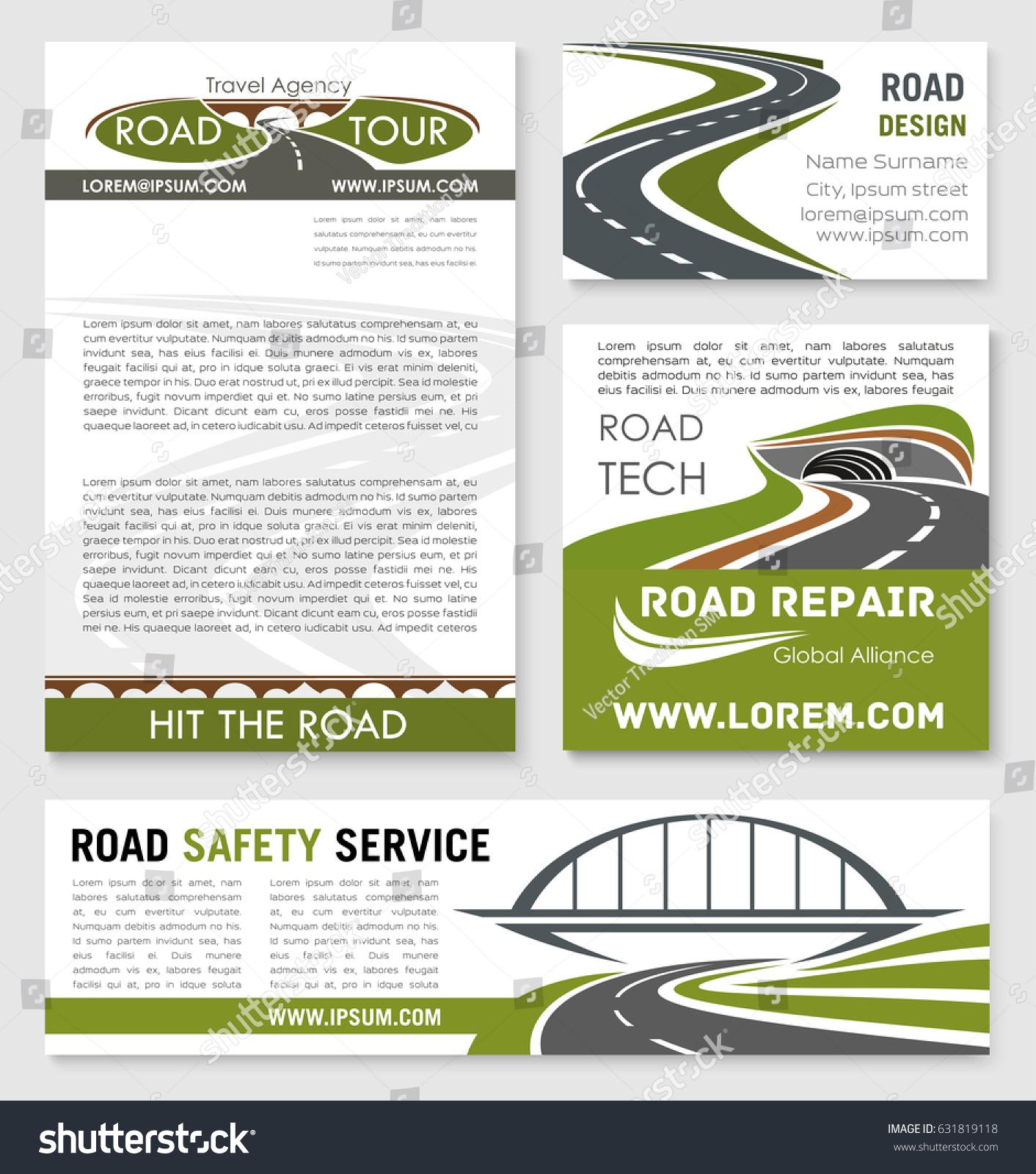 road highway banner template bridge tunnel stock vector