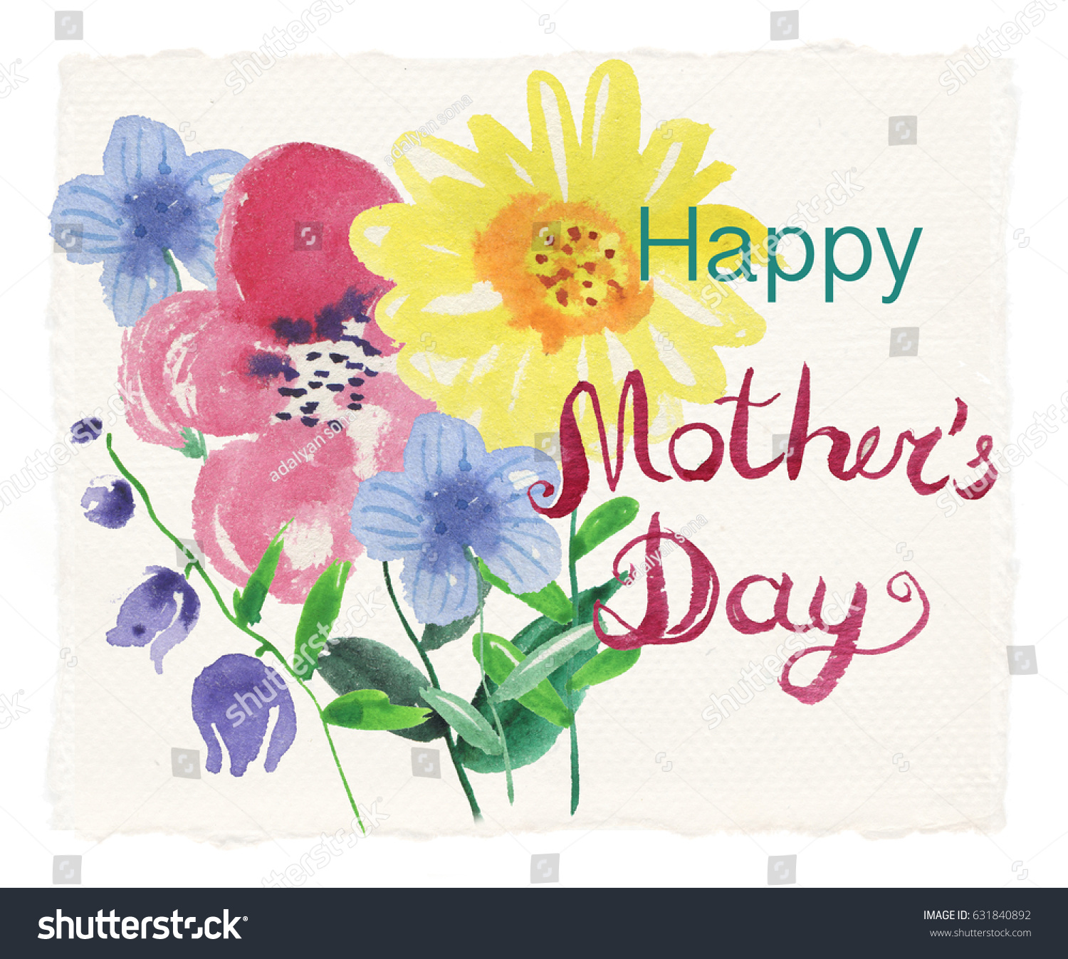 Mothers Day Greeting Card Flowers Background Stock Illustration