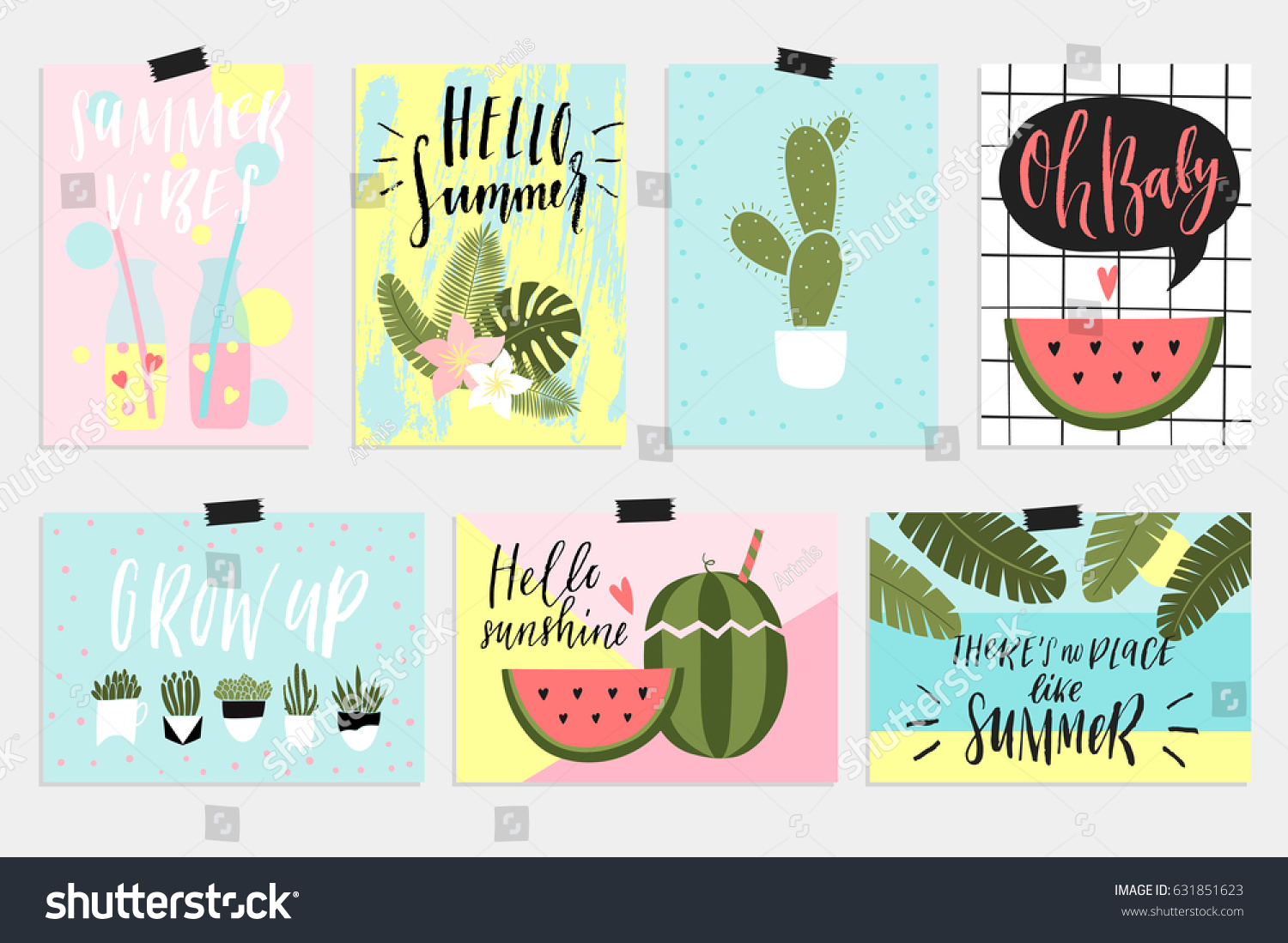 Summer Greeting Cards Posters Fun Elements Stock Vector Royalty Free 631851623