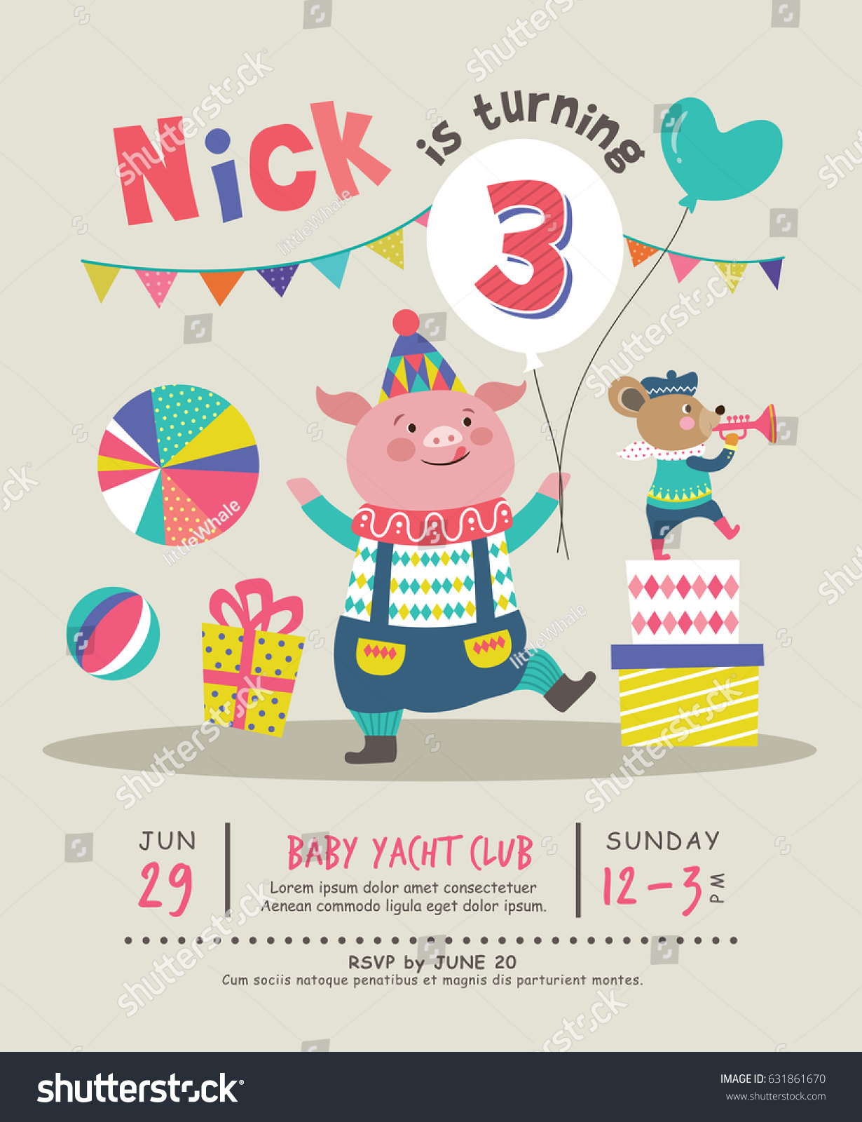 Kids Birthday Party Invitation Card Stock Vector 631861670 ...